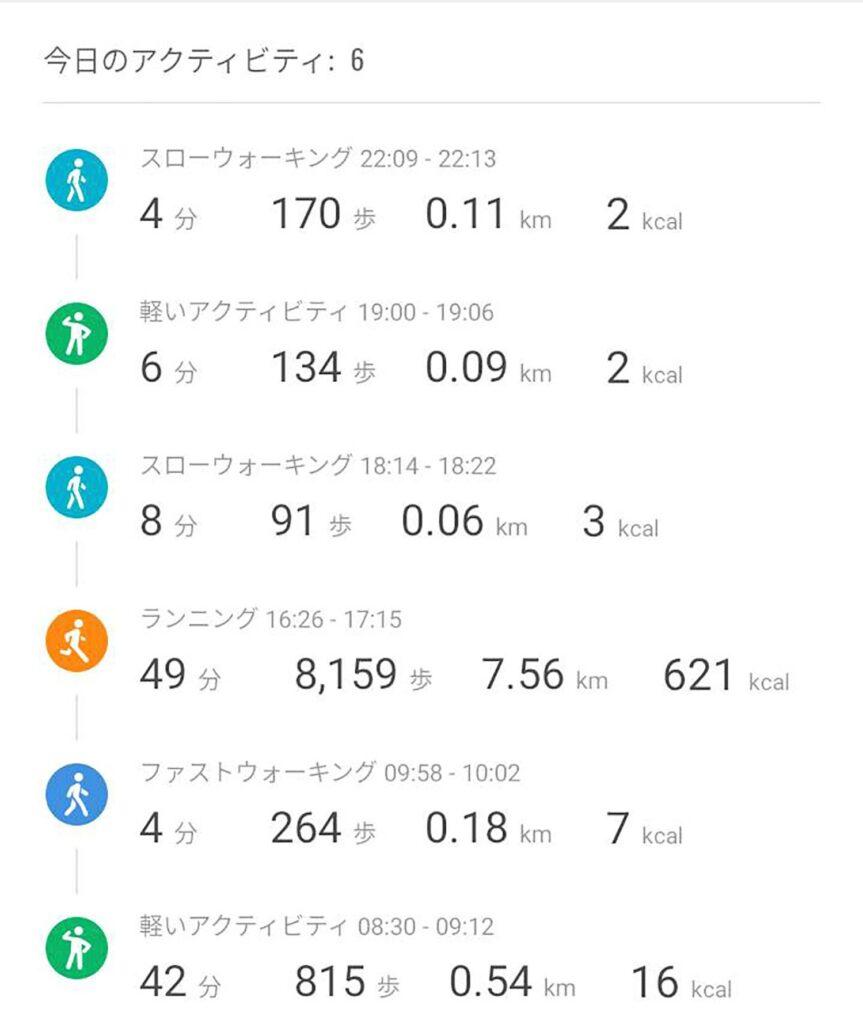 Mi Band 5 アクティビティ画面