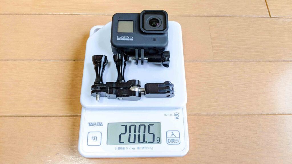 GoProとアダプターの重さ